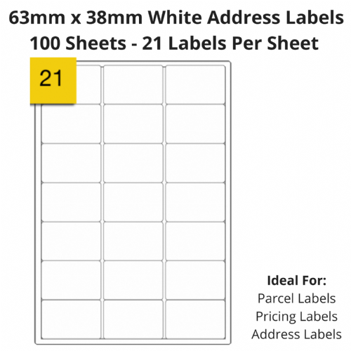 White Address Sticky Labels - 21 Per Sheet